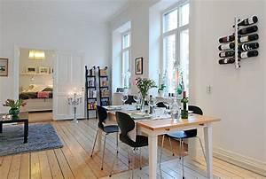 Swedish, 58, Square, Meter, Apartment, Interior, Design, With, Open, Floor, Plan