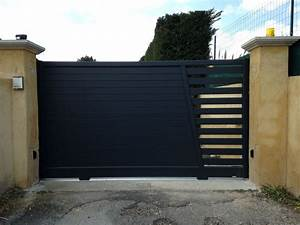 Portail Bois 4m : pose d 39 un portail coulissant alu et motorisation la ~ Premium-room.com Idées de Décoration