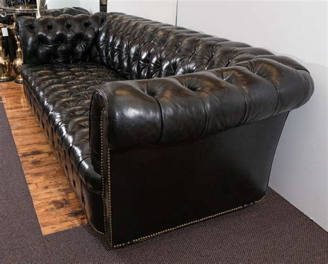 midcentury chesterfield sofa in tufted black leather at 1stdibs - Black Leather Tufted Sofa