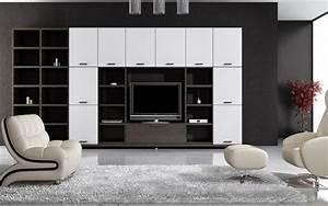 Living Room White And Black Wallpaper
