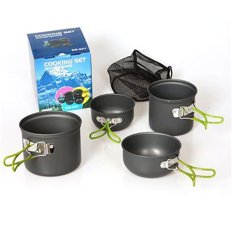 camping backpacking cookware hiking pots pans kochgeschirr compact two aluminiumoxid hartes cooking menschen topf 4pcs equipment pan durable ds