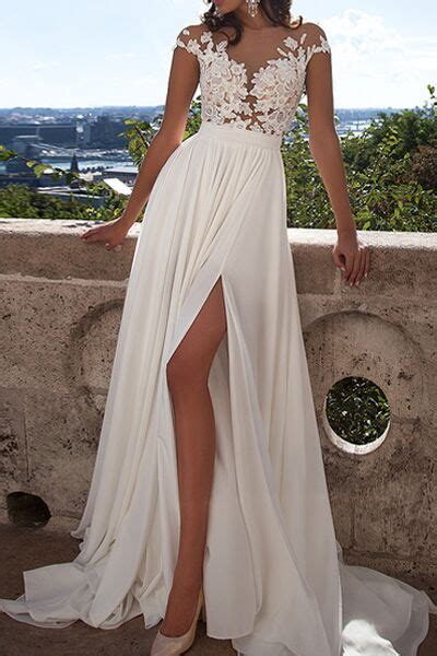 Ivory Lace Beach Wedding Dressesfront Slit See Through
