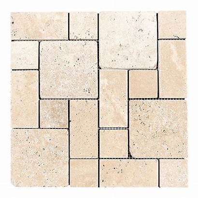 Roman Travertine Pattern Ivory Tile Mosaic Tumbled