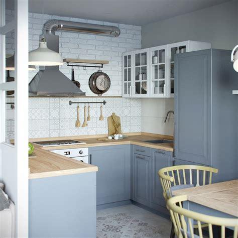 cuisine bleu pastel touches de bois dans un intérieur blanc et gris picslovin