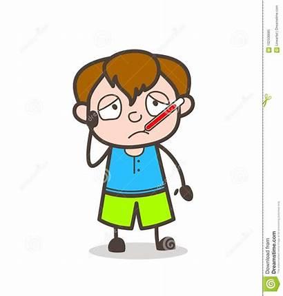 Ill Fever Cartoon Thermometer Boy Illustrations Illustration