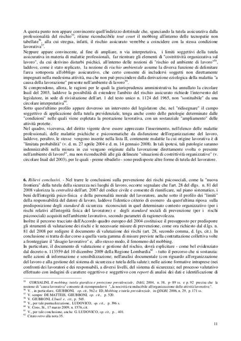 Persiani Diritto Della Previdenza Sociale by 02 Rischi Psicosociali Giurisprudenza
