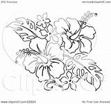 Hibiscus Flower Tattoo Bouquet Outline Hawaiian Flowers Clipart Drawing Illustration Royalty Stencils Stencil Tropical Clip Tattoos Designs Lei Outlines Loopyland sketch template