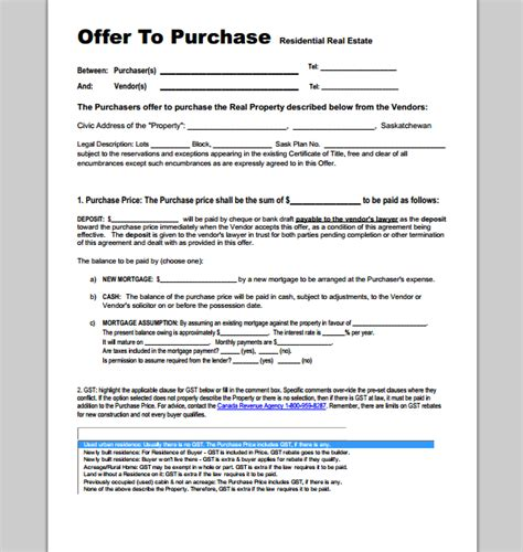 offer template purchase offer template format format of purchase offer template sle templates