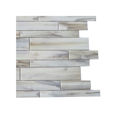 tile home depot splashback tile matchstix halo 3 in x 6 in x 8 mm glass mosaic floor and wall tile sle c2c1