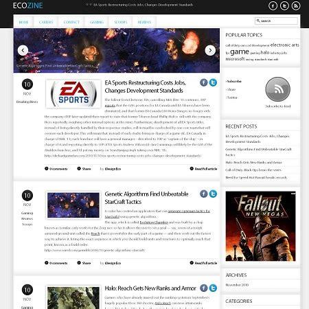 Ecozine Gaming Blog Theme