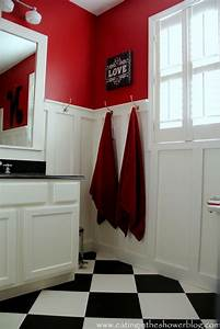 bathroom in red black and white ideas for the cottage With black white and red bathroom decorating ideas