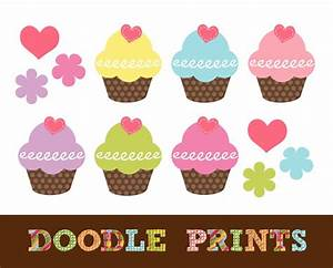 Vanilla Cupcake clipart printable - Pencil and in color ...