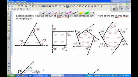 sum of exterior angles in a polygon part 1 youtube