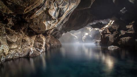 nature landscape water rock lake cave tavern mist