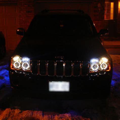 2005 07 jeep grand black led halo projector