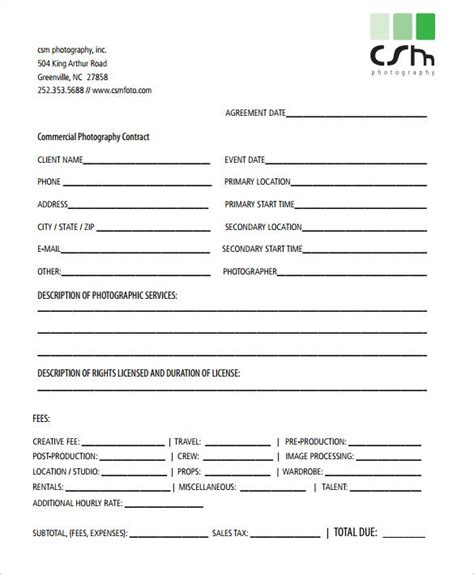 photography contract templates word  apple