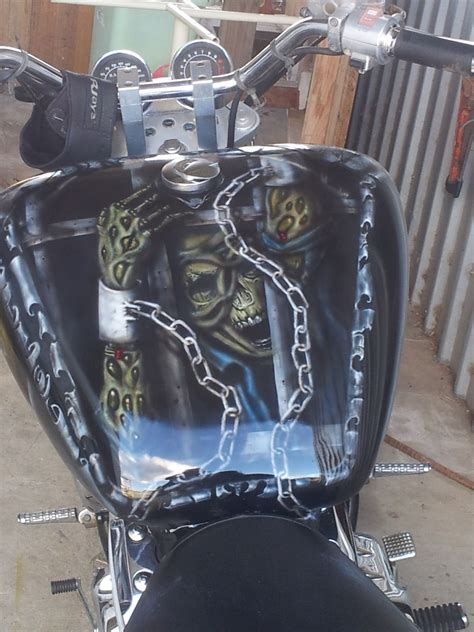 Airbrushed Skull And Chains, Life Behind Bars  Gas Tanks