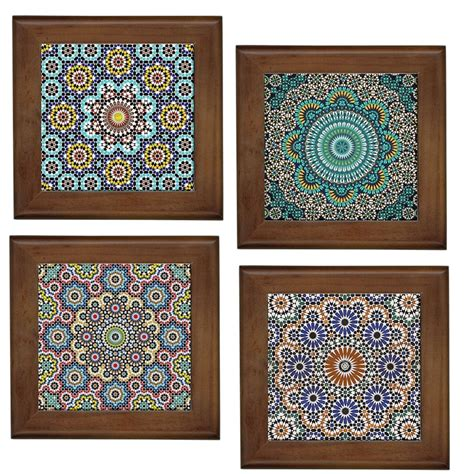 Moroccan Patterns Home Decorative Ceramic Framed Tilewall