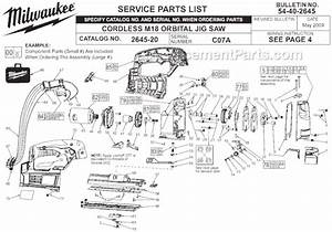 Milwaukee 2645-20 Parts List And Diagram