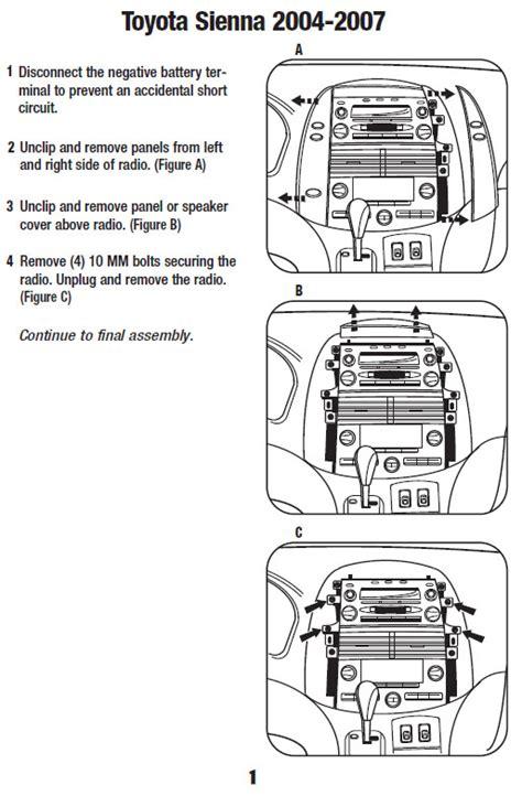 Toyota Siennainstallation Instructions