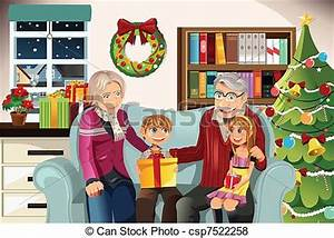 Vector of Grandparents and grandchildren on Christmas time