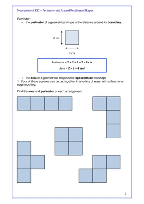 maths ks2 activity for engaging learners with area and perimeter of rectilinear shapes by