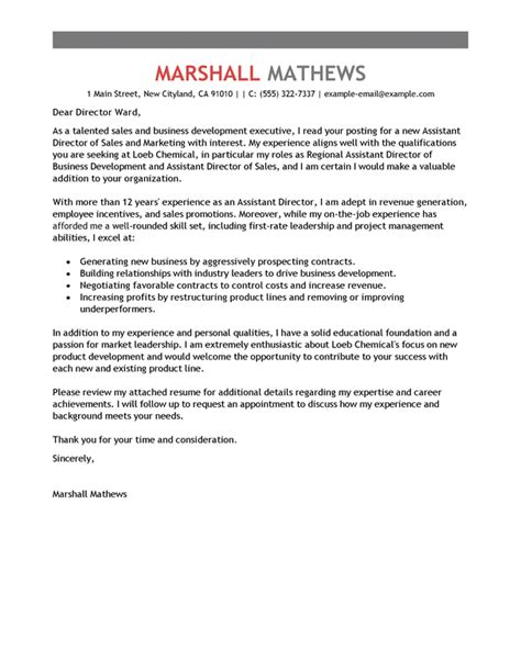assistant director cover letter examples livecareer