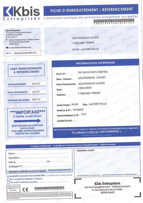 Modification Kbis Auto Entrepreneur arnaque au courrier kbis entreprises infogreffe