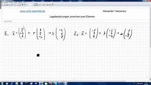 Schnittgerade Zweier Ebenen Berechnen : lagebeziehungen zwischen zwei ebenen schnittgerade zweier ebenen bestimmen identische ebenen ~ Themetempest.com Abrechnung