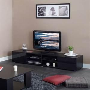 Meuble Tv Noir : meuble tv 4 niches 2 tiroirs 185 cm noir 3058a7612l02 achat vente meuble tv sur ~ Teatrodelosmanantiales.com Idées de Décoration
