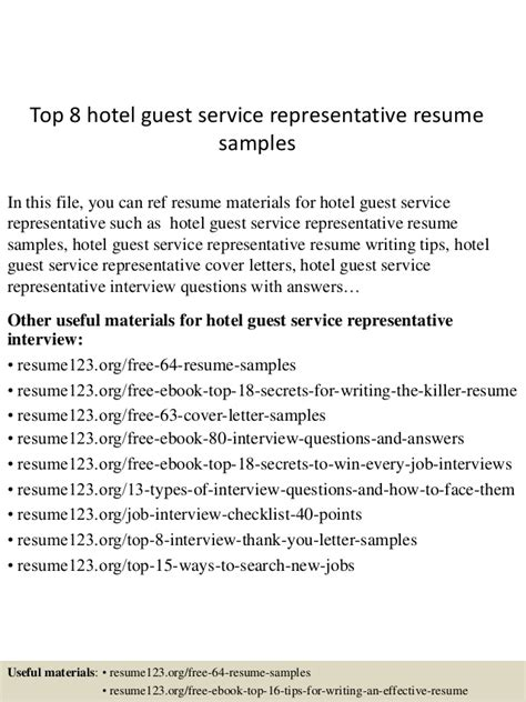 Hotel Guest Services Resume by Top 8 Hotel Guest Service Representative Resume Sles