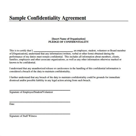 Confidentiality Agreement Template 7 Confidentiality Agreement Templates Word Excel Pdf