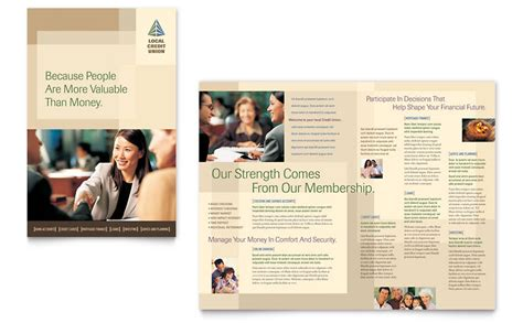 credit union bank brochure template word publisher