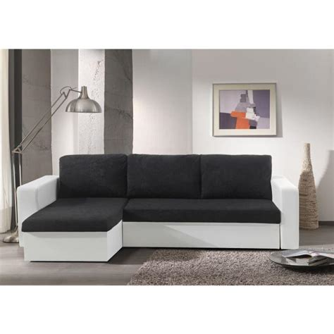 echo canap 233 d angle convertible simili 4 places angle r 233 versible 225x140x91 cm noir et