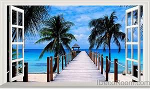 Palm Tree Beach Tropical Ocean Pier 3D Window View ...