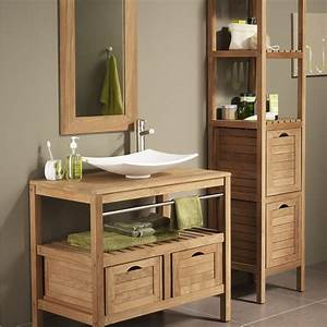 Meuble salle de bain bois exotique leroy merlin salle de for Porte d entrée alu avec meuble salle de bain double vasque bois pas cher