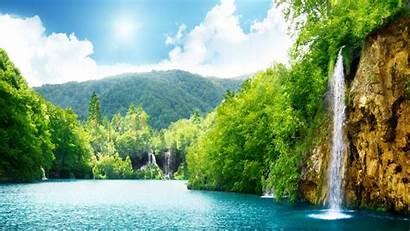 Waterfall Nature Summer Trees Wallpapers Lake Desktop
