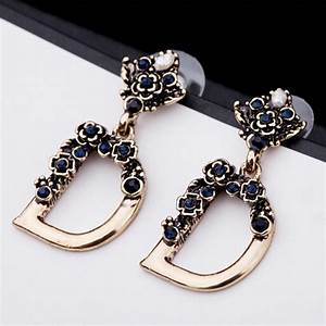 new fashion luxury statement big gold letter d initial With letter d earrings