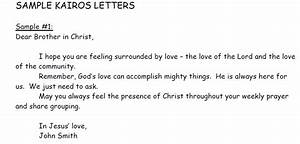 An example of a Kairos letter. Each participant receives a ...