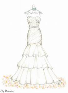 Dreamlines Wedding Dress Sketch #oneyearanniversarygift # ...