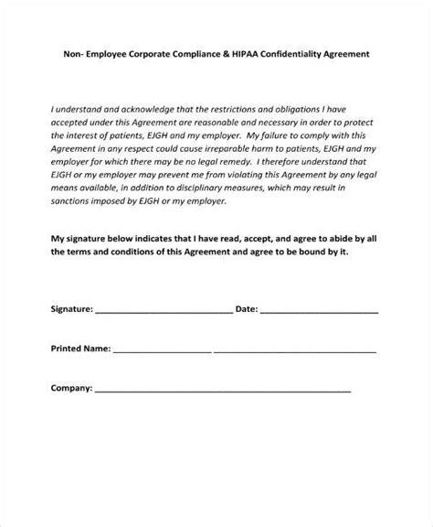 hipaa confidentiality agreement templates