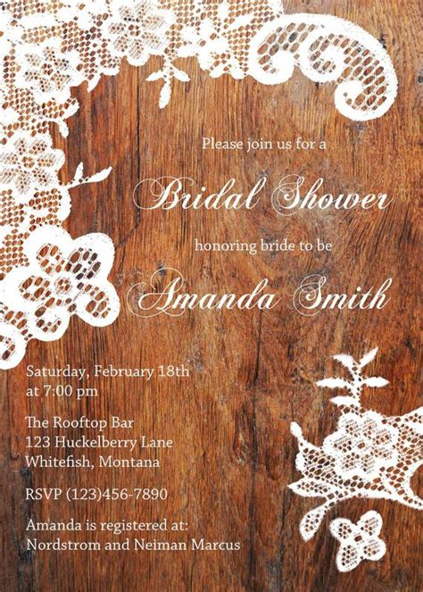 lace bridal shower invitations rustic bridal shower