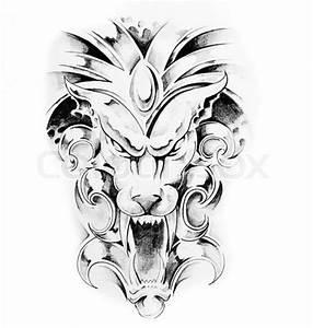 gargoyle tattoo patterns | Gargoyle Tattoo Sketch Design ...