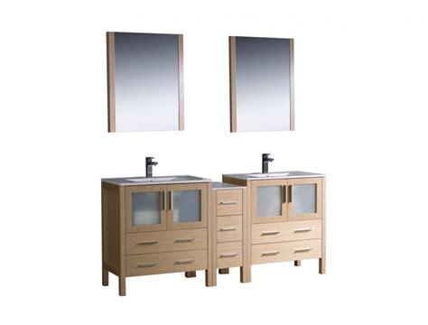 Inch Double Sink Bathroom Vanity In Light Oak With