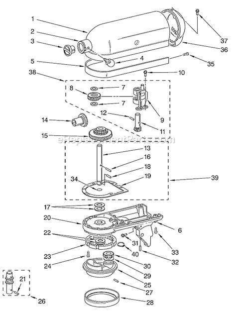 kitchen aid replacement parts kitchenaid k45sswh parts list and diagram