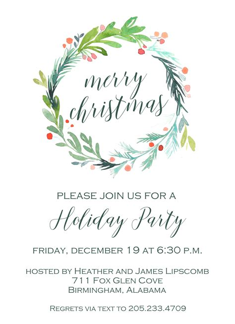 6289 Holly Wreath Christmas Invitation PoppySeed Paper