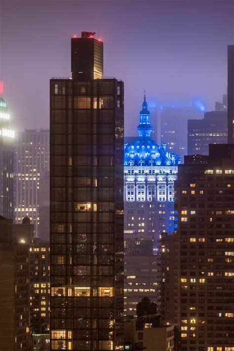 The iconic Helmsley Building glows in blue and white on a ...
