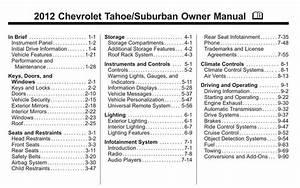 Chevrolet Tahoe 2012 Owner U0026 39 S Manual