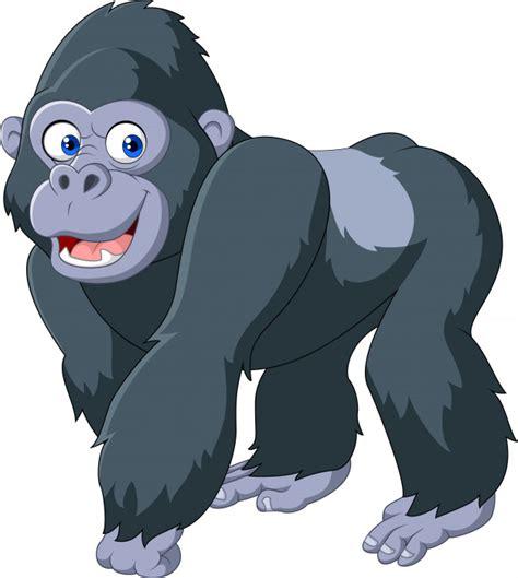 Gorila de prata dos desenhos animados Vetor Premium