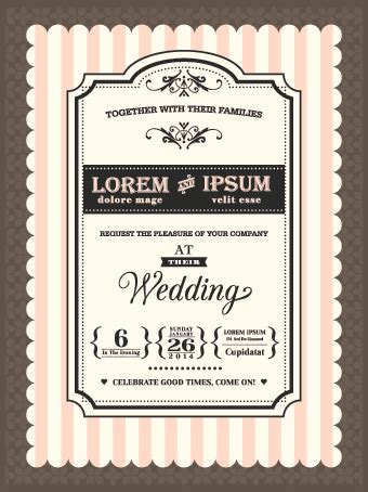 Retro wedding invitations cards design vector 02 free download